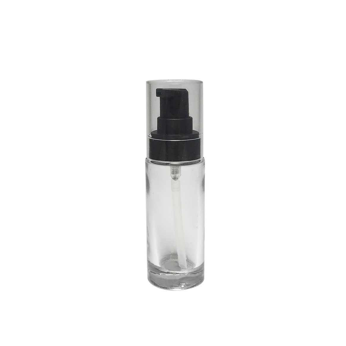 Elegance packaging empty 35ml cylinder glass bottle black lotion pump transparent cap 20/4100 neck size