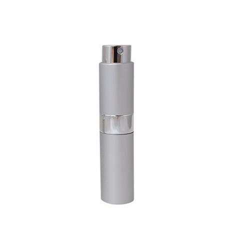 Matte silver color retractable 8ml perfume atomizer with shiny middle ring custom logo printing travel size perfume bottle